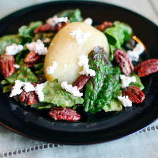 Poached Pear and Goat Cheese Salad with Candied Pecans