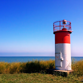 Cellphone Lighthouse by Betty Doerksen - Instagram & Mobile iPhone ( port, water, observation, lookout, cell, lighthouse, horizon, lake, iphone, clear sky, sky, blue, cellphone, pier )