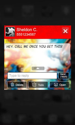 Superhero Comic Book SMS Theme - screenshot