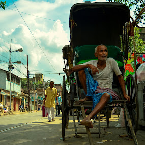 Leisure. by Souvik Kundu - City,  Street & Park  Street Scenes ( rickshaw, leisure, streets, street scenes, street photography )
