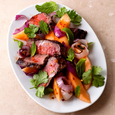 Melon and Steak with Smoked Paprika Dressing