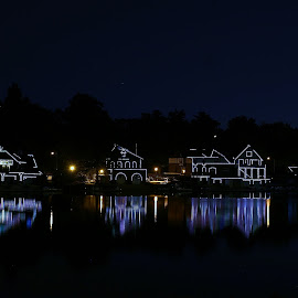 Philadelphia's Boat House Row by Alvin Simpson - City,  Street & Park  City Parks ( canon, water, park, boathouse, night, philadelphia, rebel, boat, row, river )