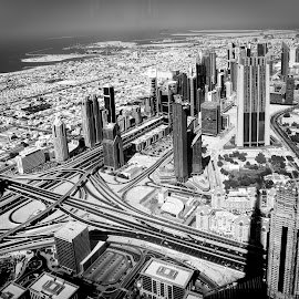 City Skyline by Russell Dmello - City,  Street & Park  Skylines ( skyline, skyscrapers, black and white, dubai, uae, city )