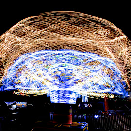 Light Mushroom by Roy Walter - Abstract Light Painting ( ride, abstract, light painting, county fair, light )