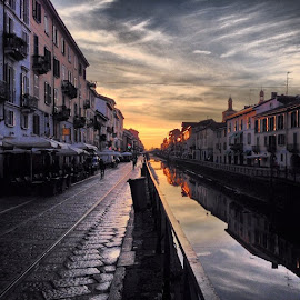 by Kevin Spagnolo - Instagram & Mobile iPhone ( milan, paint, naviglio, walk, milano, sunset, river )