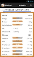 Screenshot of Diet Calories Vitamins Counter