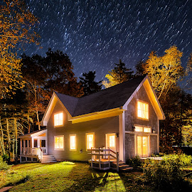 Mount Kineo Cottage, Moosehead Lake, Maine by Aaron Priest - Buildings & Architecture Homes ( mt. kineo, maine, autumn, stars, timelapse, cottage, chris romac, night, star trails, kineo island )