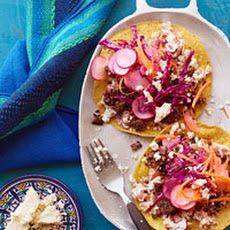 Beef Tostadas with Beans and Pickled Veggies