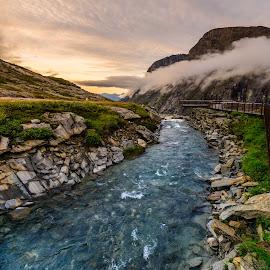 Streaming in the twilight by Catalin Tibuleac Fotografie - Landscapes Mountains & Hills ( water, mountains, stream, dusk, trollstigen, norway )