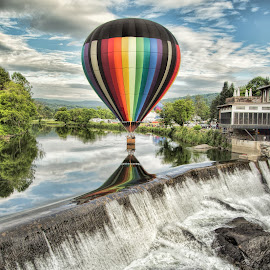 Water Colors by Ron Phillips - Transportation Other ( water, clouds, hot air balloon, dam, festival, vermont, river )