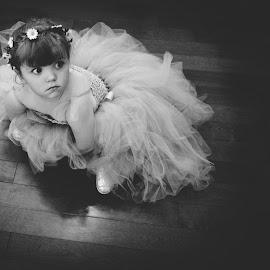 by Amy Bundy - Babies & Children Children Candids ( documentary style, sitting, black and white, wedding, flower girl )