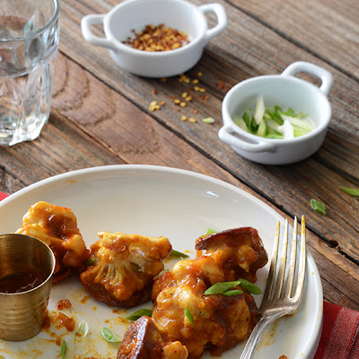 Healthier Roasted Gobi Manchurian (Cauliflower in a Spicy Sauce)