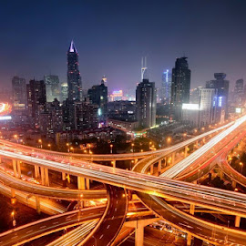 The Shanghai junction by Simon Bond - City,  Street & Park  Skylines