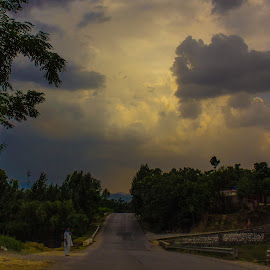 Cloudy way ~ Mansehra by Kashf Gee - Landscapes Travel ( clouds, tree, street, cloud, way, road, formation )