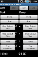 Screenshot of GAA Football Stats Recorder