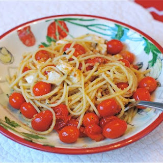 Pan Roasted Tomato & Mozzarella Spaghetti with Basil Breadcrumb Gremolata