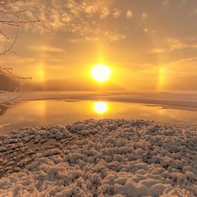 Peaceful sunrise by Rose-marie Karlsen - Landscapes Sunsets & Sunrises ( nature, sun dog, lake, landscape,  )