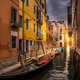 Light at the end of the canal by Jakob Noč - City,  Street & Park  Historic Districts ( old, venice, town, italy )