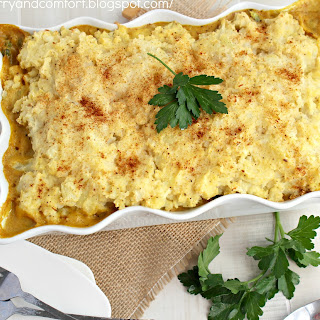 Curried Chicken Cottage Pie with Cauliflower Topping