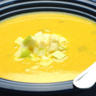 Creamy Yellow Squash and Apple Curry Soup with Toasted Coconut