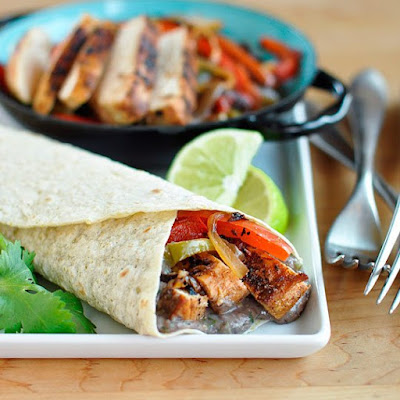 Chipotle Chicken Fajitas with Creamy Black Bean Spread