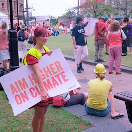 Aim Higher by Andrew Rock - News & Events Politics ( sign, australia, protest, kodak portra 160, canon canonet ql17 giii,  )