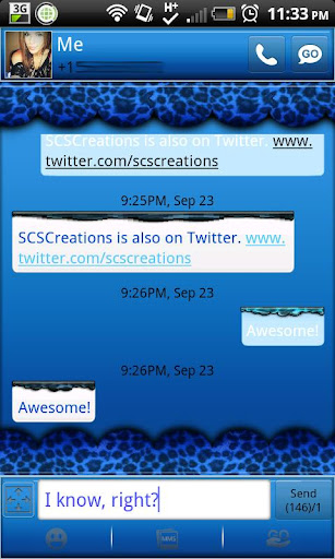GO SMS - Blue Cheetah