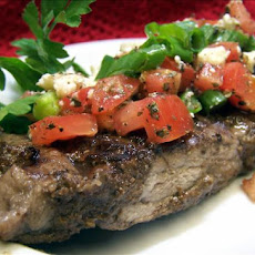 Balsamic Marinated Steaks With Gorgonzola /Tomato  Topping
