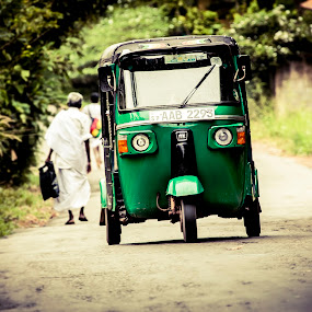 tuk tuk by Eugen Chirita - Transportation Other ( tuk tuk, transport, green, focus, driver, sri lanka, fast and furious, road, rural )