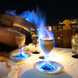 Flaming Coffeeflaming coffeesexyvistaviewsunseteveningbaroutdoors oceantra by Catherine Tolton - Food & Drink Alcohol & Drinks ( vacation, mountain, social, mexico, coffee, hilltop, vista grill, fun, travel, restaurant, drinks, puerto vallarta )