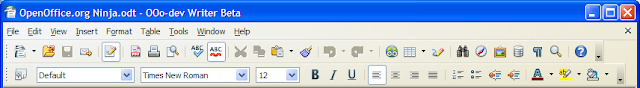 OpenOffice.org Writer Galaxy Icon set on Windows XP