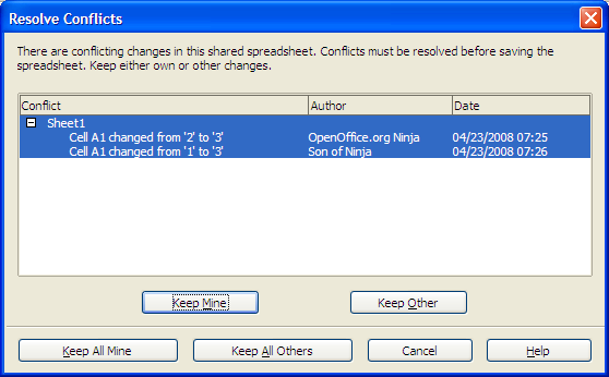OpenOffice.org Calc 3.0: Resolve Conflicts