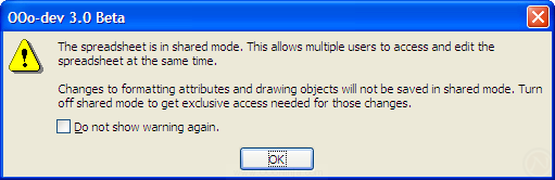 OpenOffice.org 3.0: warning about 'This spreadsheet is in shared mode'
