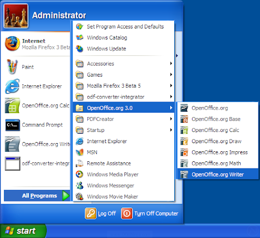 OpenOffice.org in the Windows XP start menu
