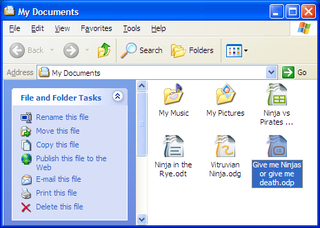 OpenOffice.org documents shown in Windows XP My Documents folder