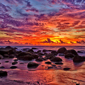Sky Painting by Charliemagne Unggay - Landscapes Waterscapes ( sky, sunset, colors, sea, rocks )