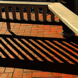 Shadows Fall by Leigh Martin - Artistic Objects Furniture ( bench seat post shadows, public, bench, furniture, object )