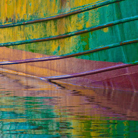 Reflecting Colours by Mike O'Connor - Abstract Patterns ( water, abstract, red, green, ship, reflections, colours,  )