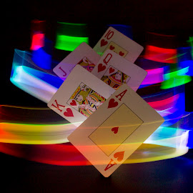 Royal Flush by Tracy James - Abstract Light Painting ( ace, light, rainbow, cards, colours )
