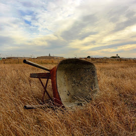 In the field by Diane Clontz - Novices Only Landscapes ( grassland, clouds, field, wheel barrow, dumping ground )