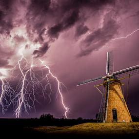Sparks at the mill by Craig Eccles - Landscapes Weather ( thunder, lightning strike, lightning, lightning bolt, lightning storm., cloud, weather, thunder storm, thunder bolt, storm, windmill,  )
