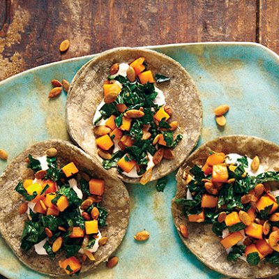 Butternut Squash, Kale, and Crunchy Pepitas Taco
