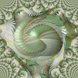 FWL 1 by Tina Dare - Digital Art Abstract ( abstract, greens, patterns, designs, manipulated, distorted, spiral, fractal, shapes )