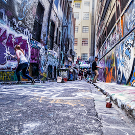 Street Artists at work by Gary Beresford - City,  Street & Park  Street Scenes ( spray, laneway, melbourne, graffiti, australia, street artist )