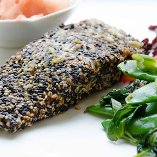 Sesame Crusted Salmon with a Zesty Ginger-garlic Drizzle