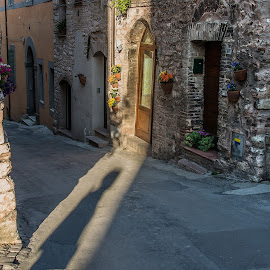 Selfie shadow by Anna Tatti - City,  Street & Park  Neighborhoods ( spello town street shadow,  )
