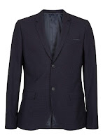 Topman Navy Grid Check Skinny Suit Jacket Blue