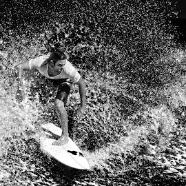 Splash Around by Indrawaty Arifin - Sports & Fitness Surfing ( surfing, splash, bw )