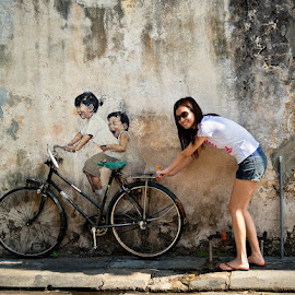 George town street art in Penang Island by Peter Cheung - City,  Street & Park  Historic Districts ( george town, street art, malaysia, penang island, people, Urban, City, Lifestyle )
