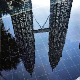 Petronas Towers Reflection by Matt Dittsworth - Buildings & Architecture Public & Historical ( water, tower, reflection, petronas, malaysia, kuala lumpur, petronas towers reflection )